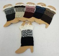 Knitted Boot Cuffs-Antique Lace [Solid Bottom/Two-Tone Top]